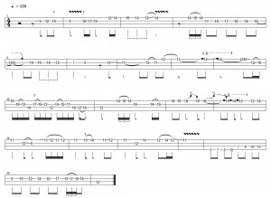 fade to black intro solo bass tab