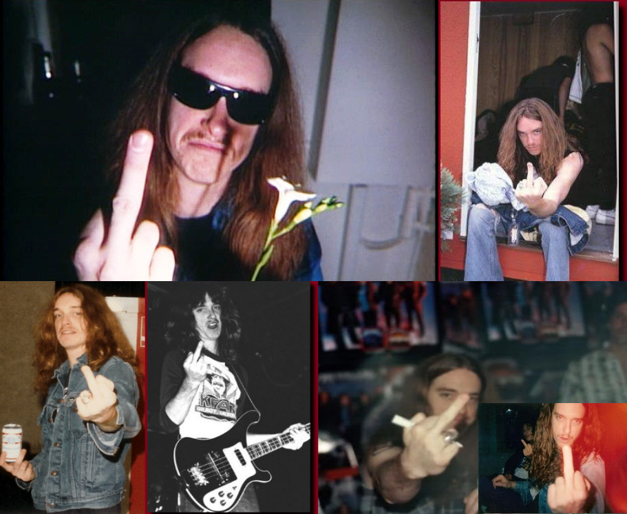 Cliff Burton middle finger fuck you photo